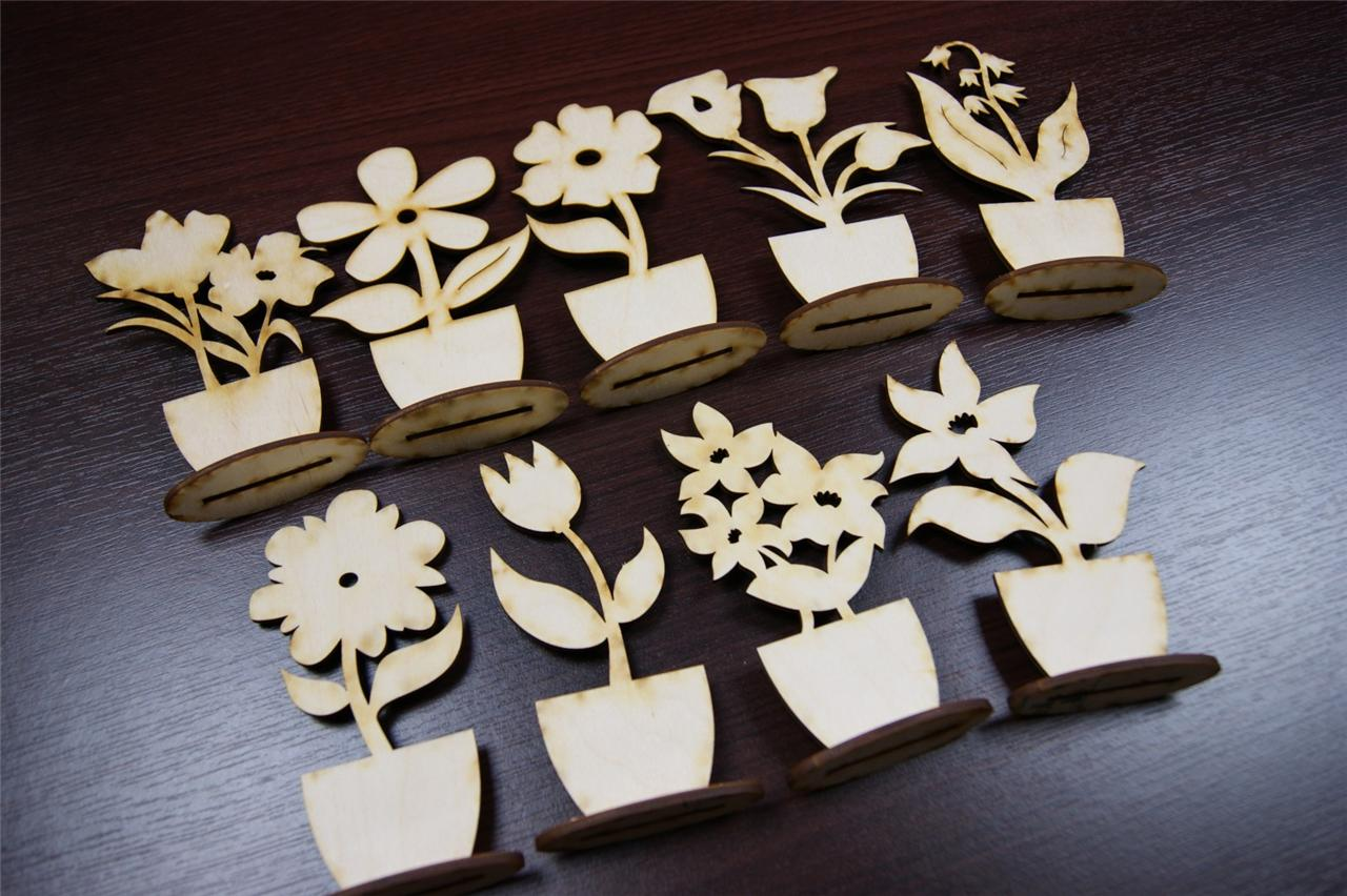 Details about (10x) FL Plain Wood Wooden Stand Flowers Embelishments ...