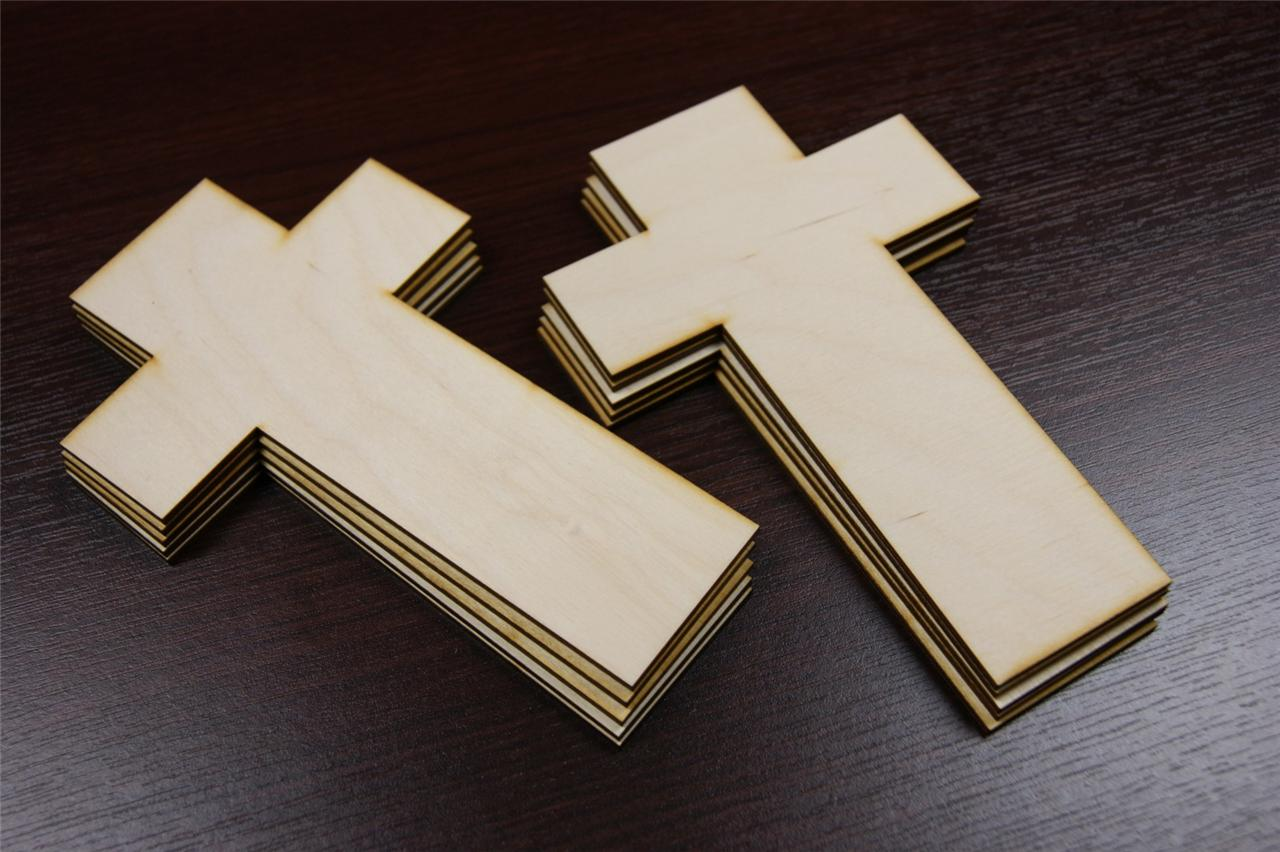 10x Cr Plain Wood Wooden Cross Embelishments Craft