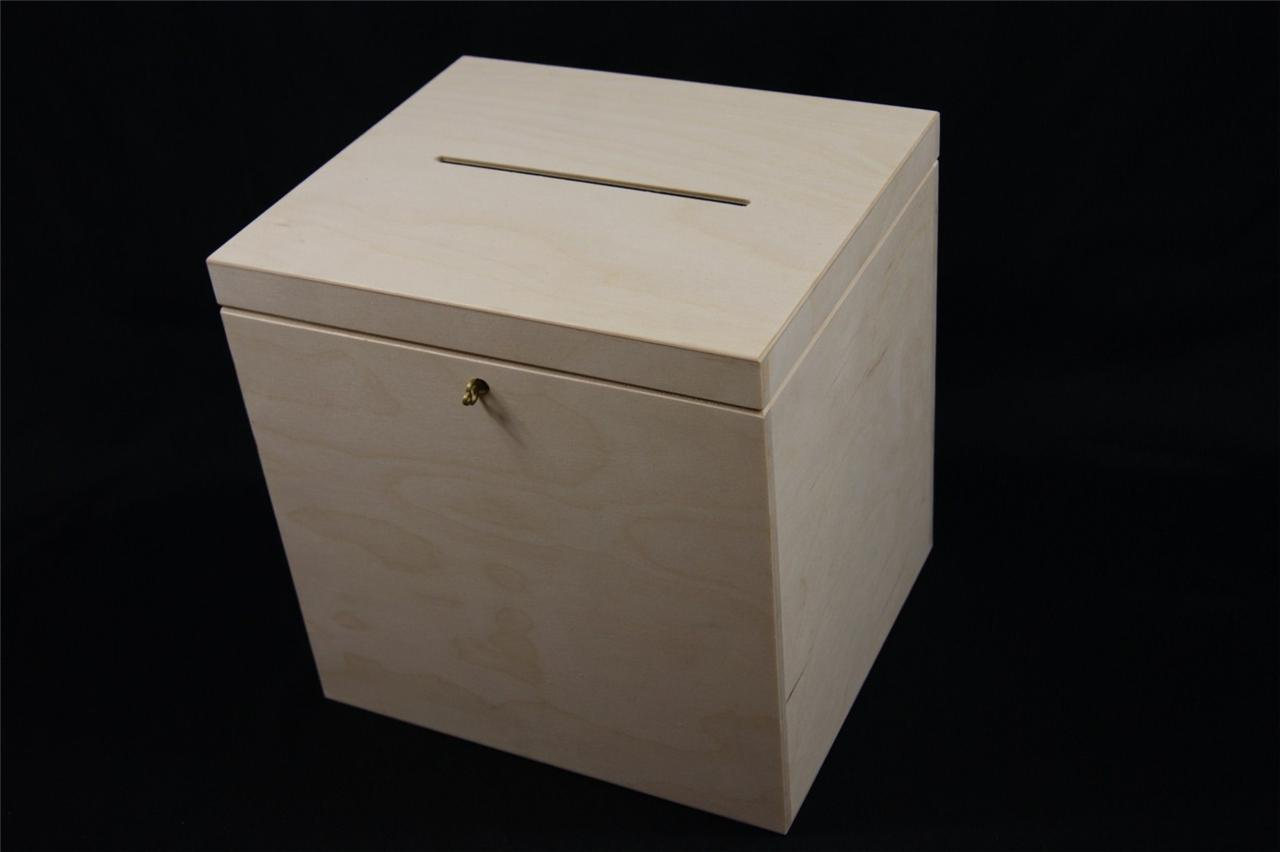 P29 30 LOCKABLE PLAIN WOOD WOODEN BOX FOR WEDDING CARDS POST BOX WISHING WE