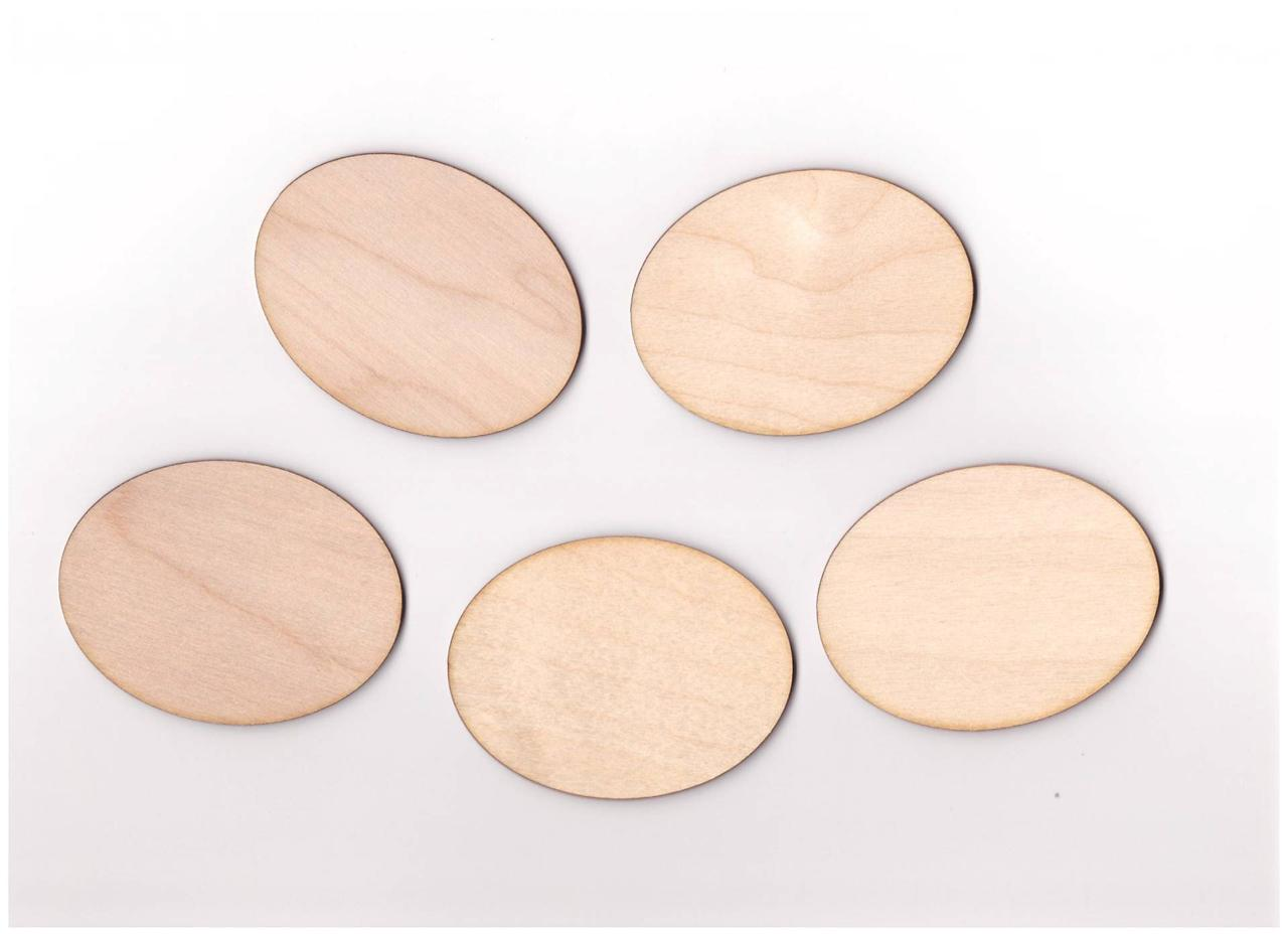10x Wooden Oval Blank Plaque Embellishment Craft Hanging Shape Decoration (W6 -> Table Oval Laque
