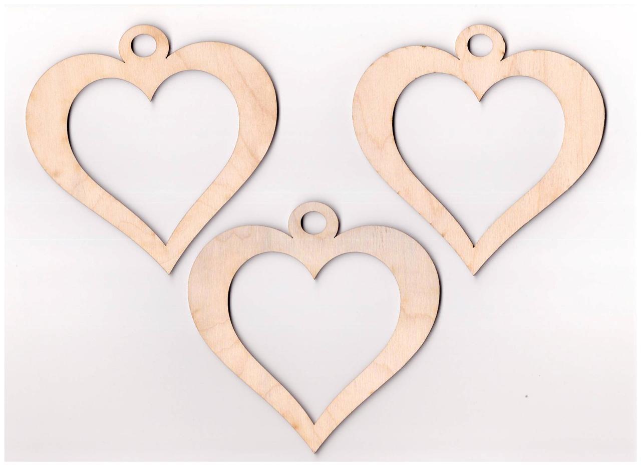 10x Wooden Heart Embellishment Wedding Hearts Hanging