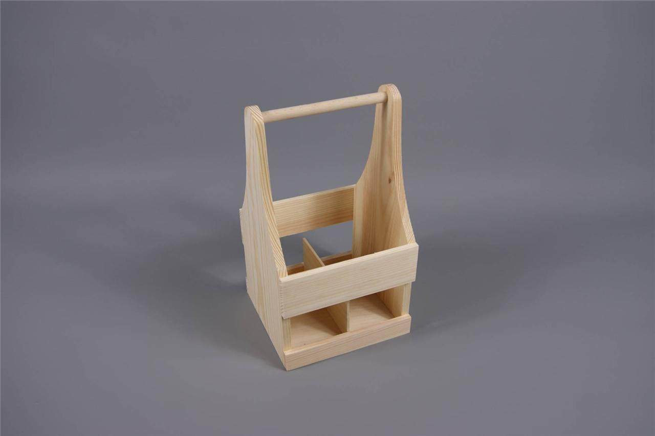 Craft plain wooden 4 bottle holder with handle carrier box for Craft crates
