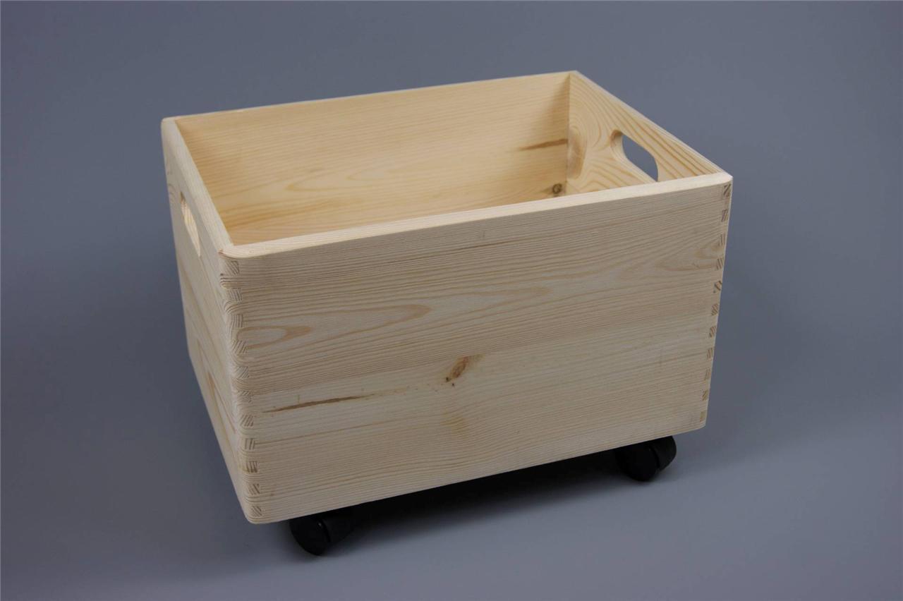3x Large Stackable Plain Wooden Toy Box Storage Unit