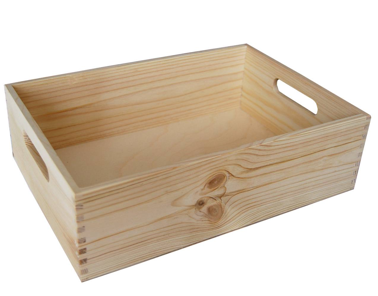5 x wooden crate with handles plain wood decoupage big srd for Timber crates