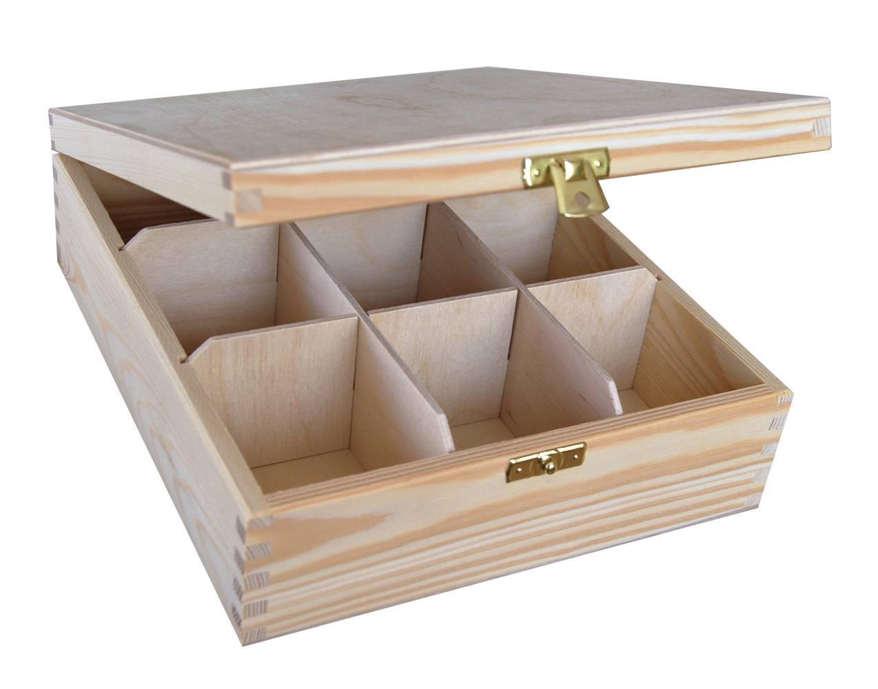 PLAIN WOOD WOODEN BOX TEA BAG CHEST 9 PARTMENT