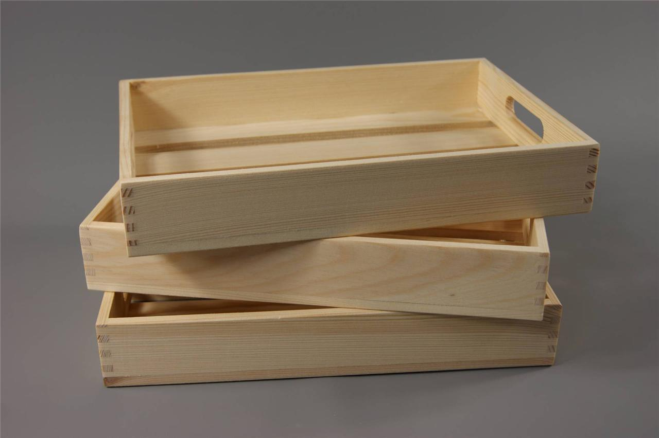 Wooden Crate With Handles 1 X Wooden Crate Tray With Handles Plain Wood Decoupage Tsk