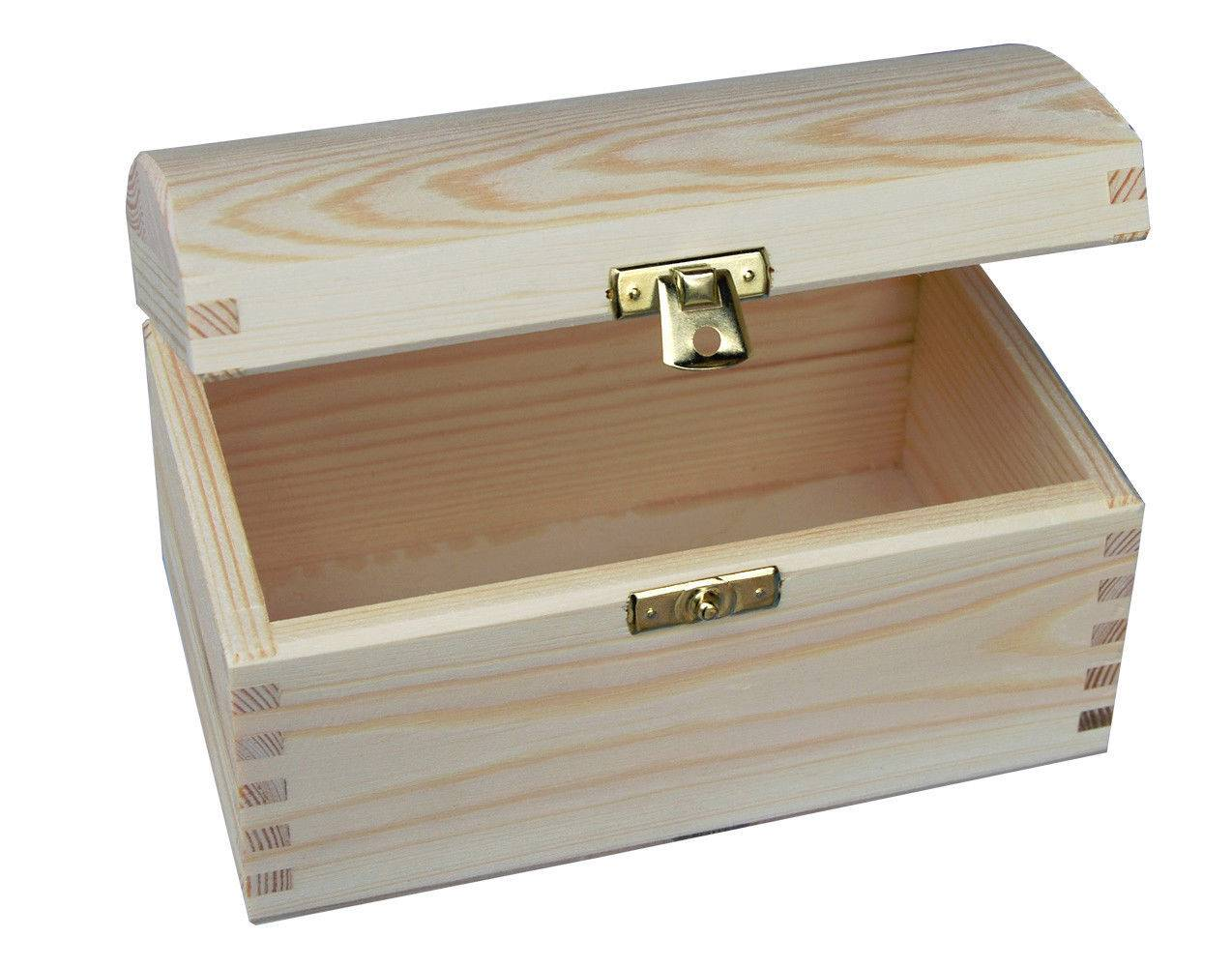 Plain Wood Wooden Storage Box Jewellery Treasure Chest Ebay