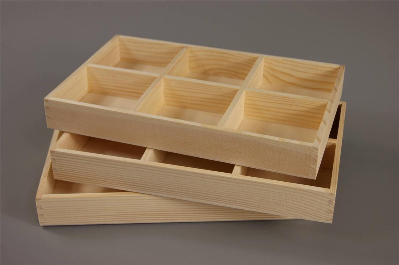 ... WOOD - WOODEN TRAY 6 COMPARTMENTS Decoupage 27,5 x 18cm CRAFT | eBay
