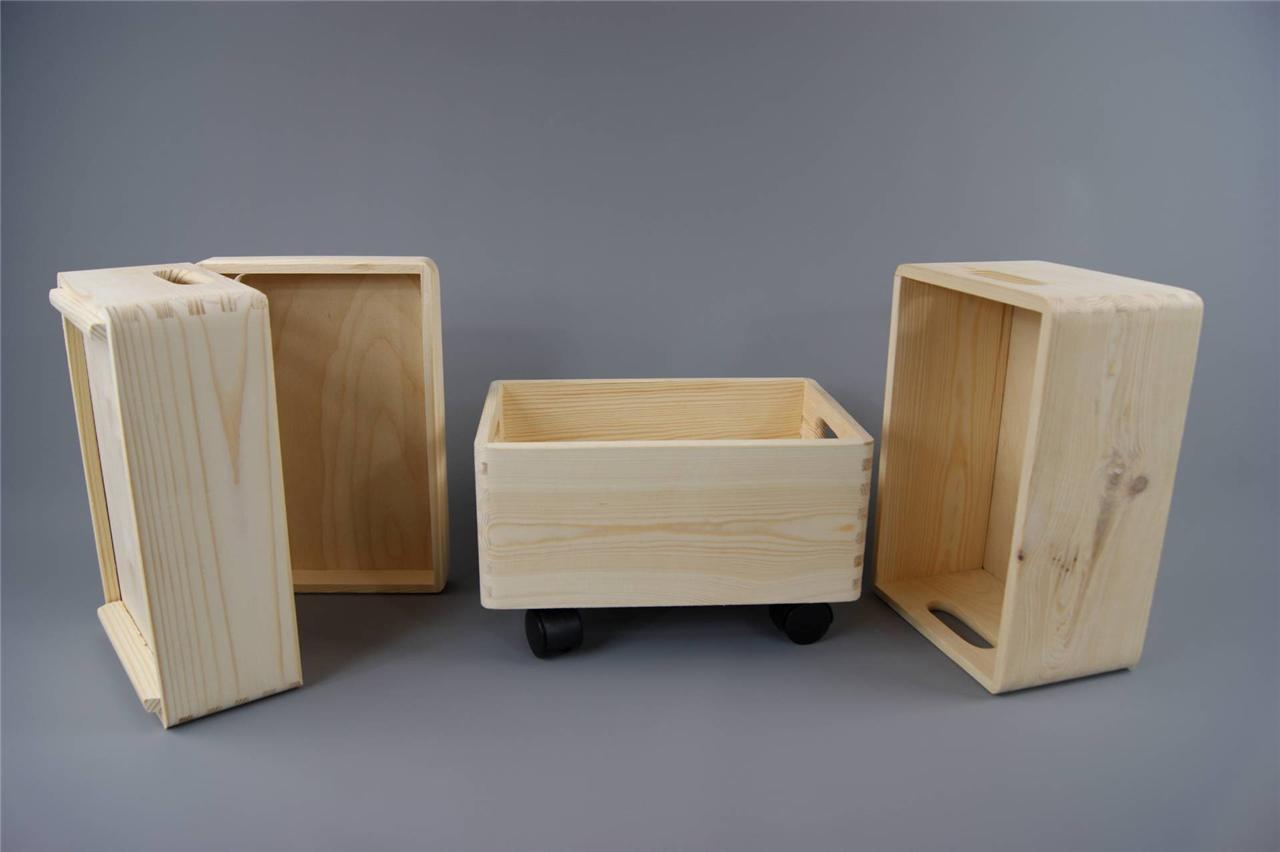 3x Small Stackable Plain Wooden Toy Box Storage Unit