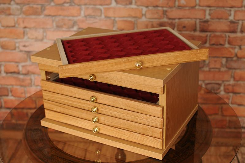 Oak6 Brand New Coin Tray Collection Cabinet For 6 Trays