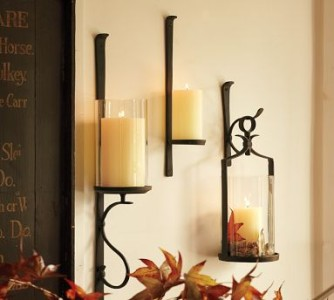 pottery barn artisanal iron hurricane candle wall mount ebay. Black Bedroom Furniture Sets. Home Design Ideas