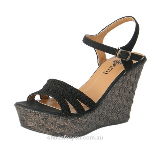 WOMENS-DESIGNER-SHOES-Wedge-Platform-Sandal-Black-Size-5-6-7-8-9-10-NEW-RELEASE