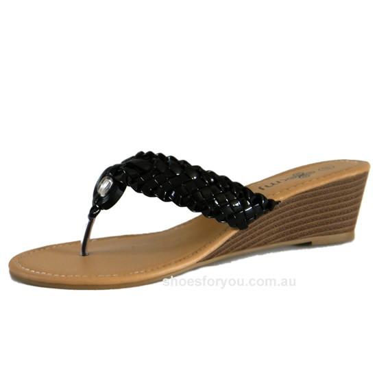 WOMENS-DESIGNER-SHOES-Wedge-Sandal-Black-Size-5-6-7-8-9-10-NEW-RELEASE