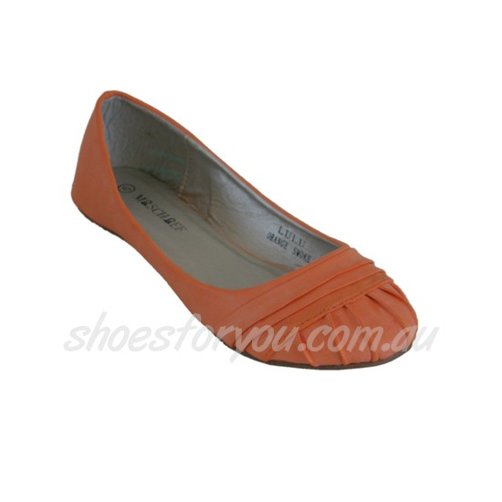 WOMENS-DESIGNER-SHOES-Low-Cut-Ballet-Flat-Sizes-5-6-7-8-9-10-Orange