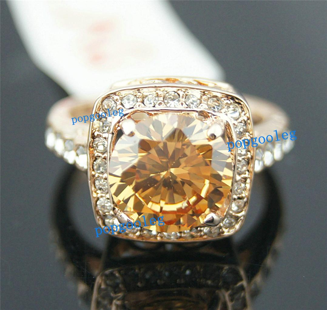 new 18k rose gold gp white yellow swarovski crystal unique king rings. Black Bedroom Furniture Sets. Home Design Ideas