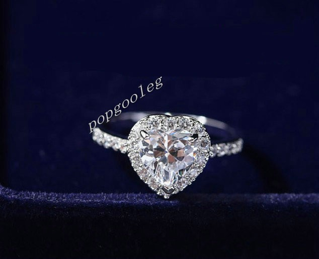 White Gold GP Swarovski Crystal Heart Wedding Engagement Ring Top Qual