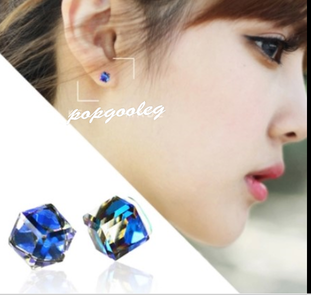 925 sterling silver square-shaped colour blue Crystal lady zircon Earrings studs
