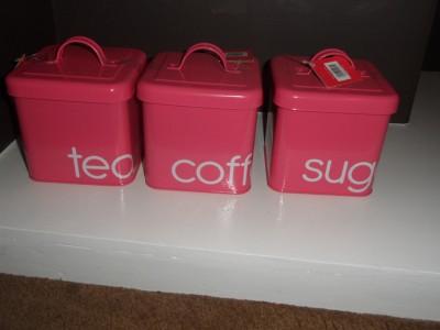 New Hot Pink Tea Coffee Sugar 3 Enamel Jars Canisters Ebay