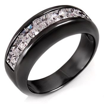 Sterling Silver CZ Mens Black Rhodium Wedding Band Ring