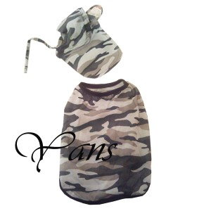 Camouflage Dog Shirt Sweats WITH HAT Pet Puppies Clothing Dog Clothes