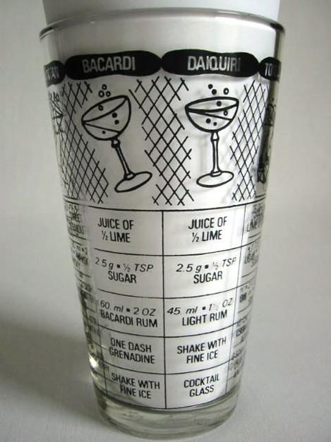 Vintage 1950s Cocktail Recipe Glass Shaker ~ RETRO Art