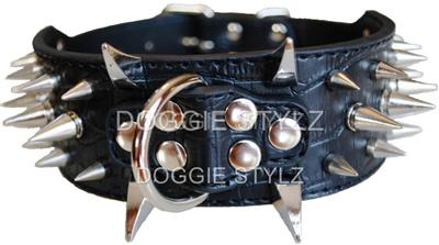 Black Amp Gold Leather Dog Harness Amp Collar Set Spikes
