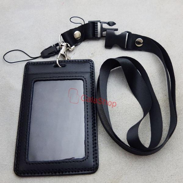 Genuine leather ID Card Holder Vertical Strap Lanyard for Retractable ...