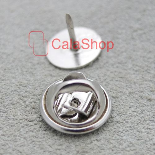 10mm Pins TIE Tac Tacks Findings Round Pinch Clip Chrome Lapel Clutches Pick