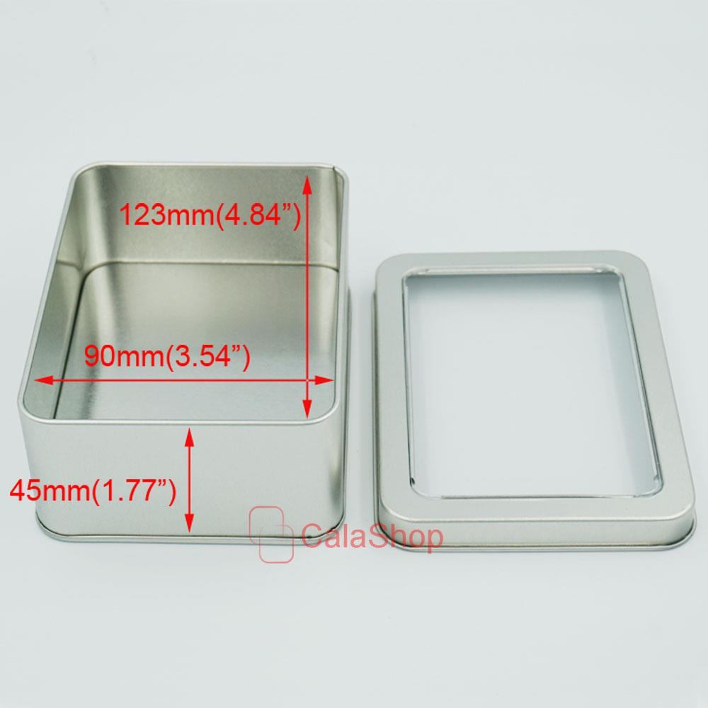 Square Shape Tinplate Iron Tin Clear View Storage