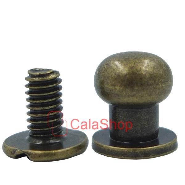 Brass head button stud screwback leather screw craft mm