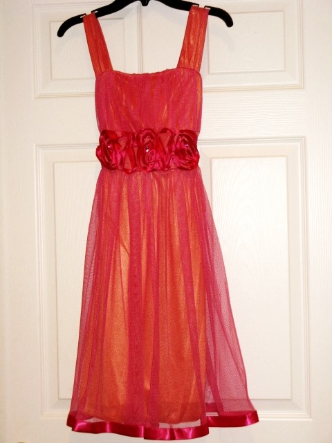 NWT-MY-MICHELLE-Hot-Pink-Coral-Girls-Dressy-Special-Occasion-Church-Dress