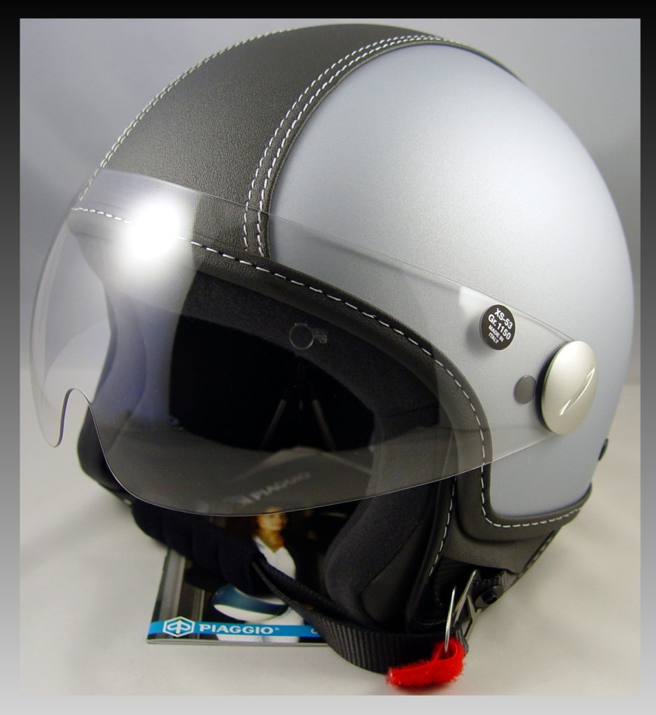 xs vespa piaggio scooter light gray copter helmet black. Black Bedroom Furniture Sets. Home Design Ideas
