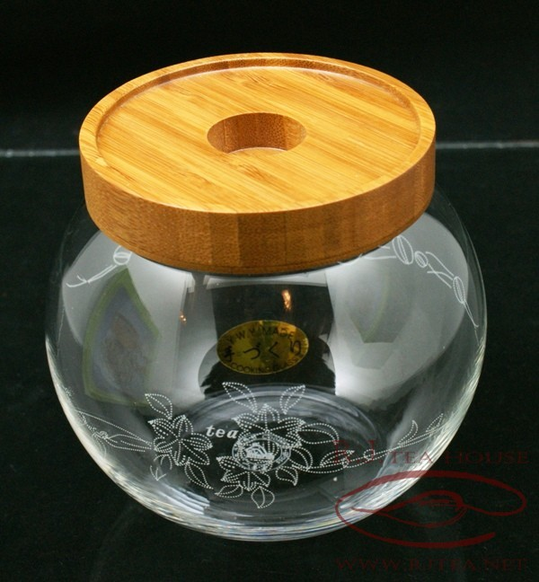 air tight glass tea canister container with wood lid ebay. Black Bedroom Furniture Sets. Home Design Ideas