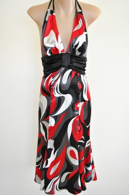 LADIES-SZ-6-BARIANO-RETRO-PRINT-SLEEVELESS-FLARED-HEM-PARTY-HALTER-DRESS