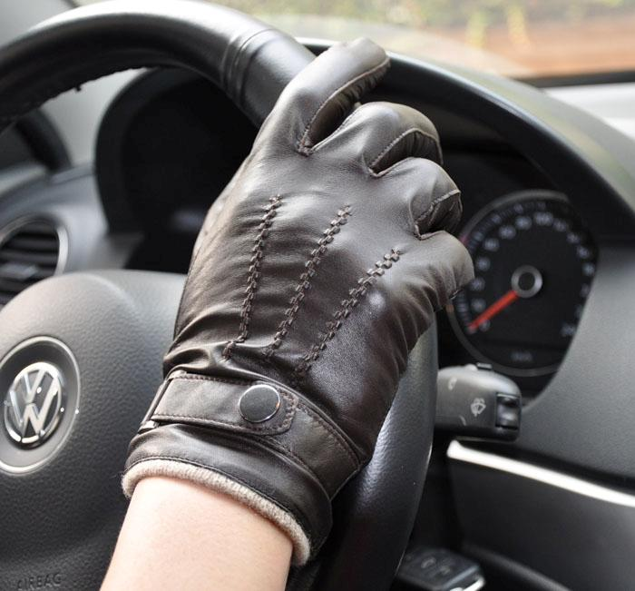 Men's Deluxe Genuine Leather Winter Wrist Gloves Police Driving Gloves 3Lines