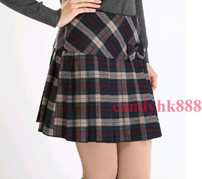 s wool plaid pleated bowknot scotland skirt mini