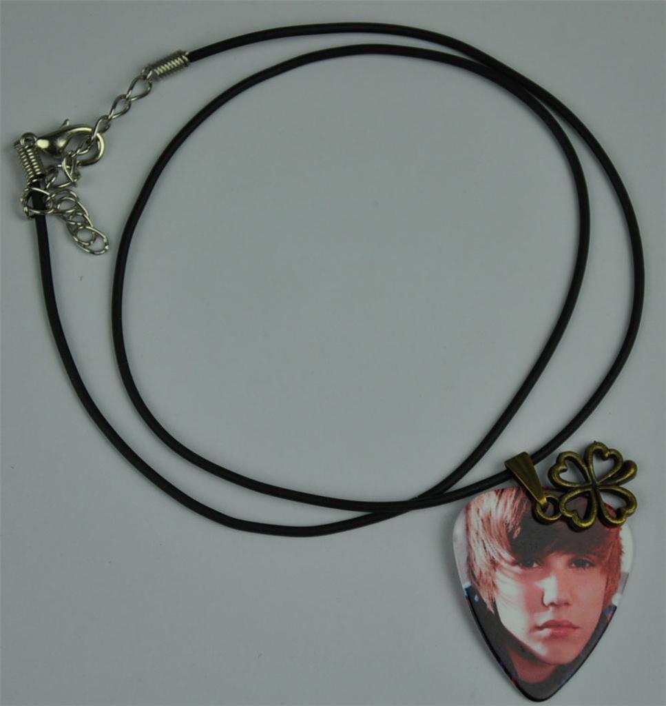 justin bieber guitar necklace metal four leaf