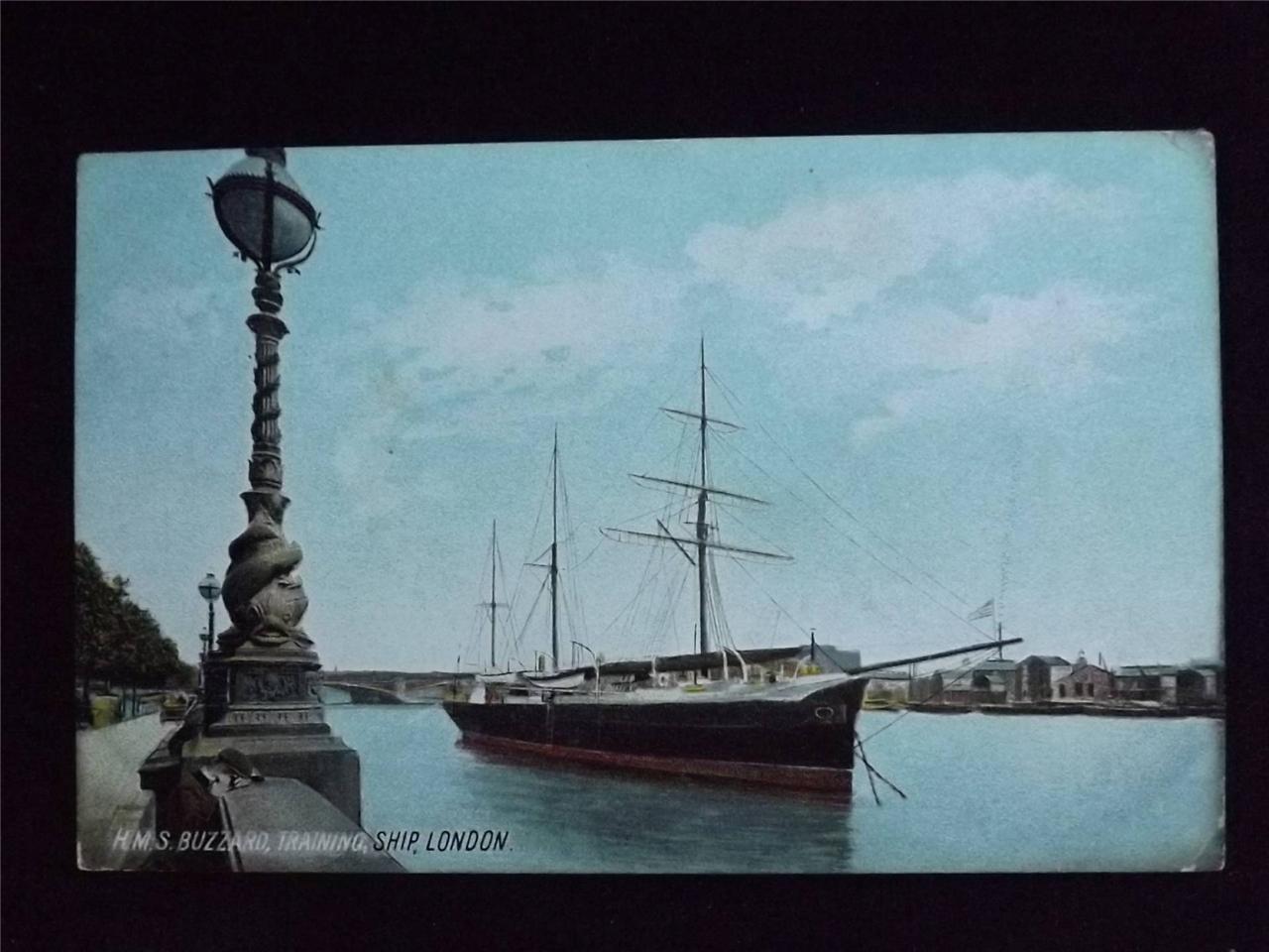 OLD-POSTCARD-OF-HMS-BUZZARD-TRAINING-SHIP-LONDON-USED-1905