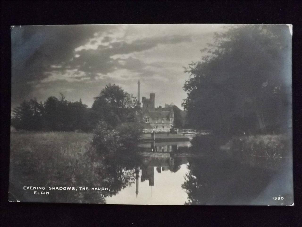 OLD-POSTCARD-OF-EVENING-SHADOWS-THE-HAUGH-ELGIN-USED-1919