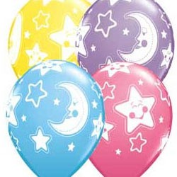 baby shower balloons unisex boy or girl moon stars decorations pack 5