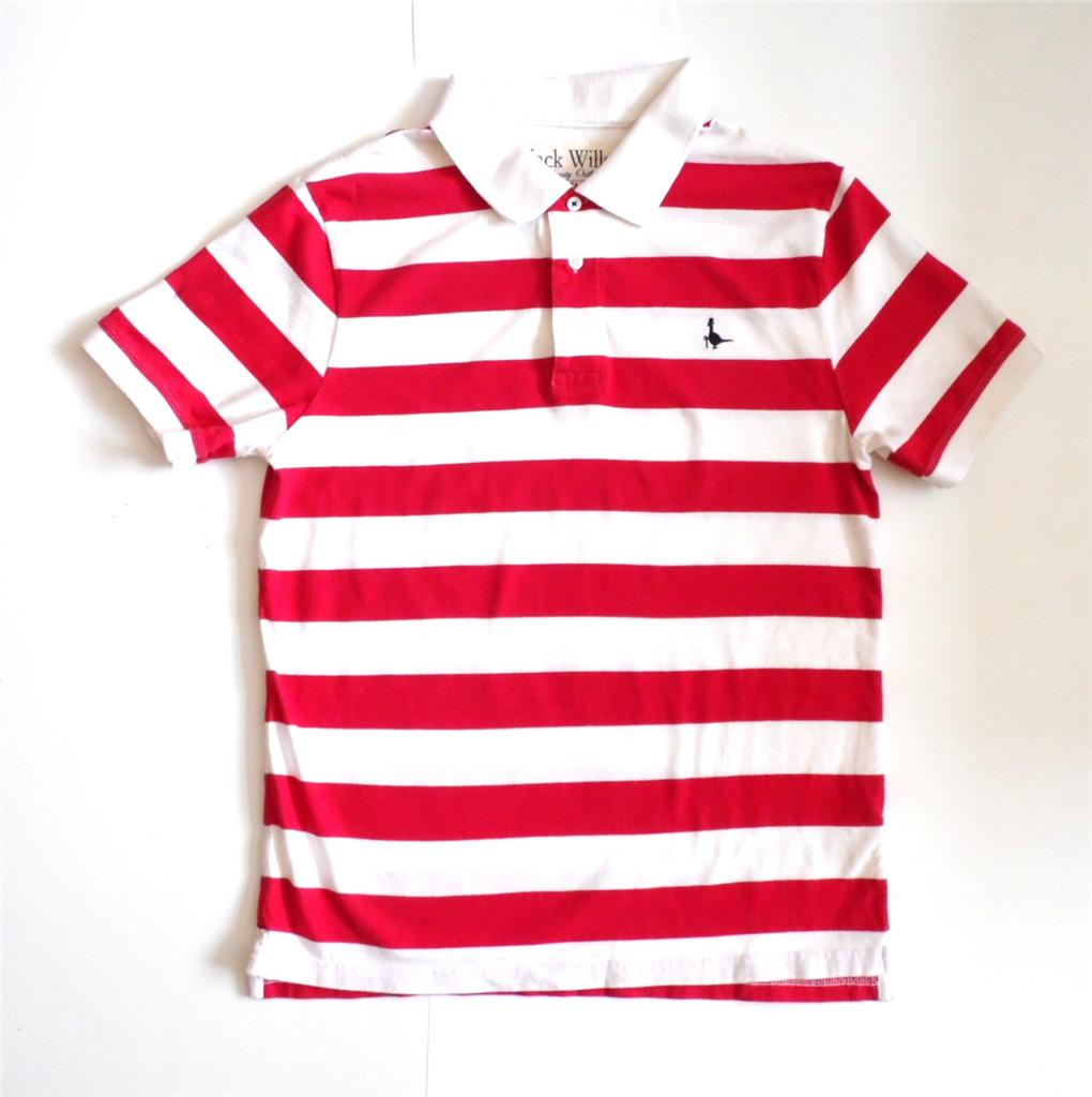 Polo striped shirt for men in white and red male models for Red white striped polo shirt
