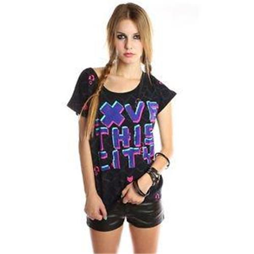 ABBEY DAWN/IRON FIST(XS, S, M, L) LOVE THIS CITY BLACK T.SHIRT TOP
