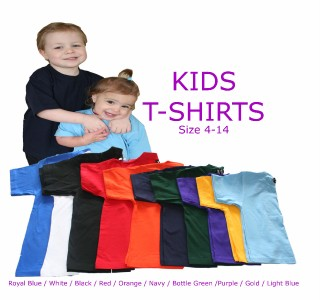 1KT-JBs-Wear-Plain-Kids-T-SHIRTS-Sz-10-Tops-100-Cotton-T-Shirt-Various-colours