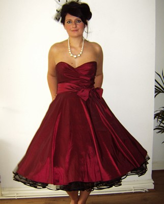 Evening Dress on Gorgeous 1950s Style Dark Red Prom Dress With Wide Sash  Boned Bodice