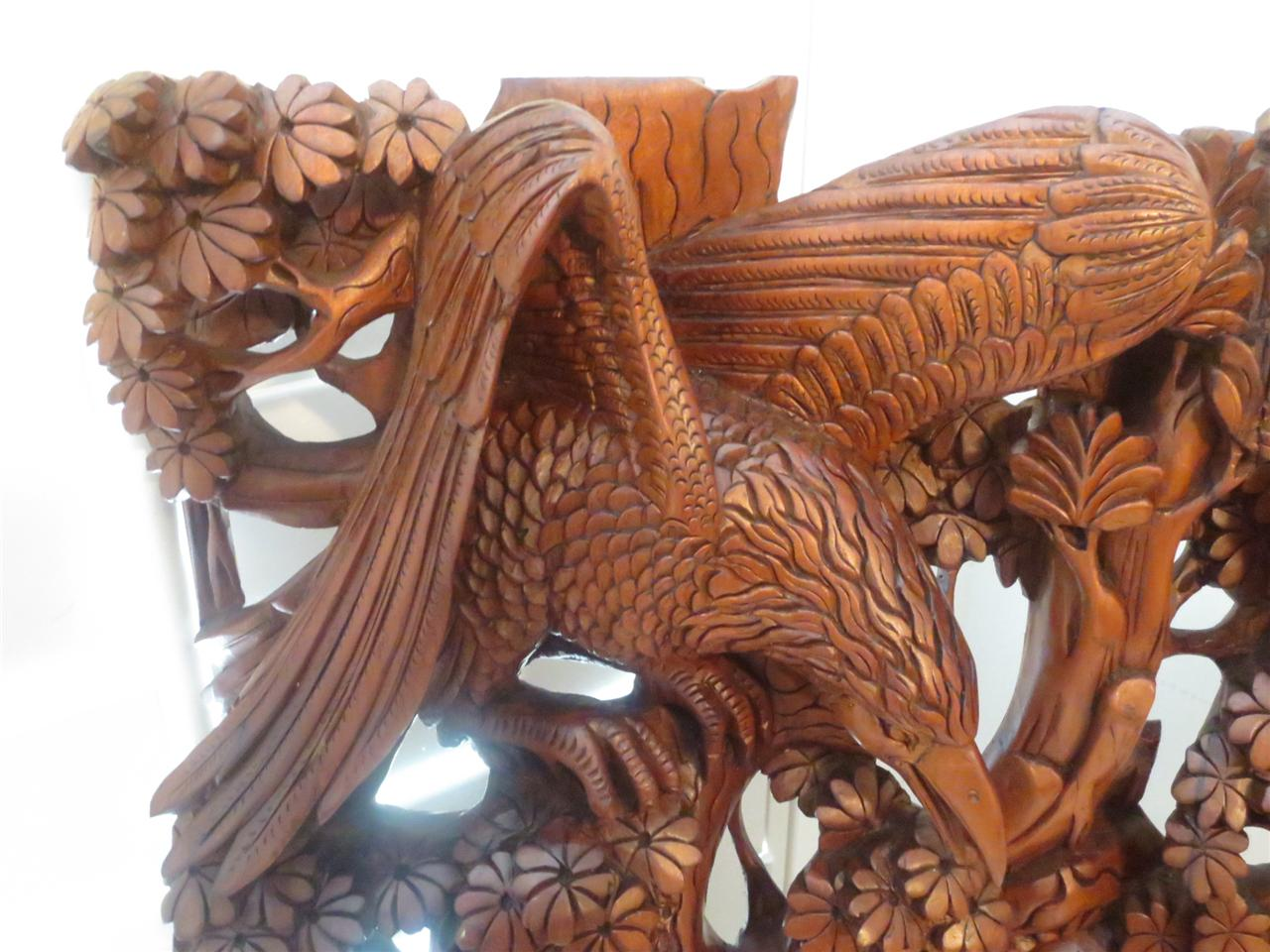 Vintage intricate bali wood carving birds trees antelope