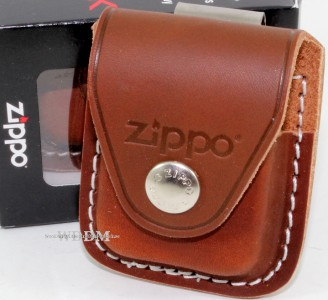 Zippo Brown Leather Lighter Pouch Case Holder w Belt Boot Clip Made in