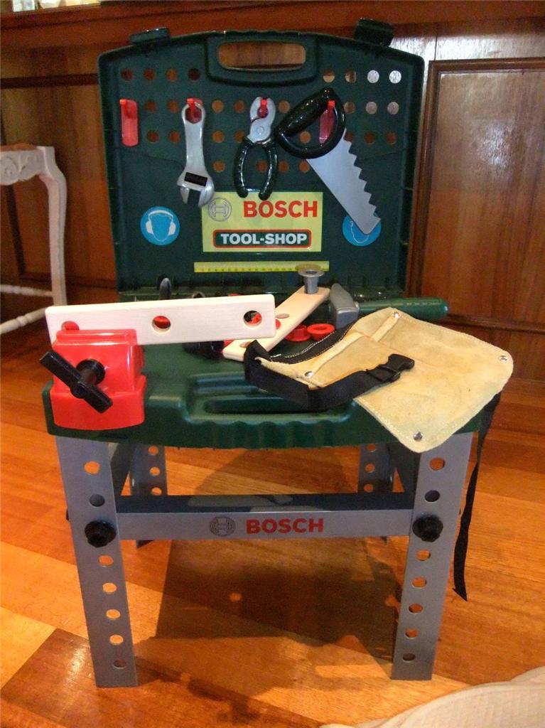 Bosch Mini Kids Tool Set Shop Bench Set Folding Table Carry Case Tool Belt Ebay