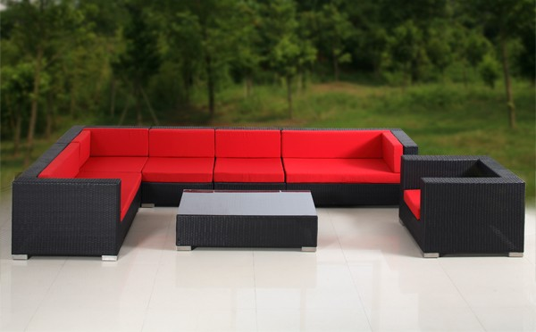 8PC Outdoor Patio Wicker Sofa Sectional Set Furniture Red Cushion Cover EBay