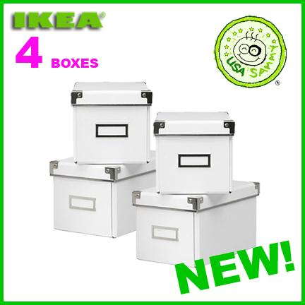 4 white ikea storage cd boxes w lids container cases ebay. Black Bedroom Furniture Sets. Home Design Ideas
