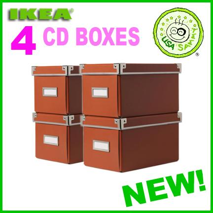 4 orange ikea storage cd boxes lid container cases box ebay. Black Bedroom Furniture Sets. Home Design Ideas